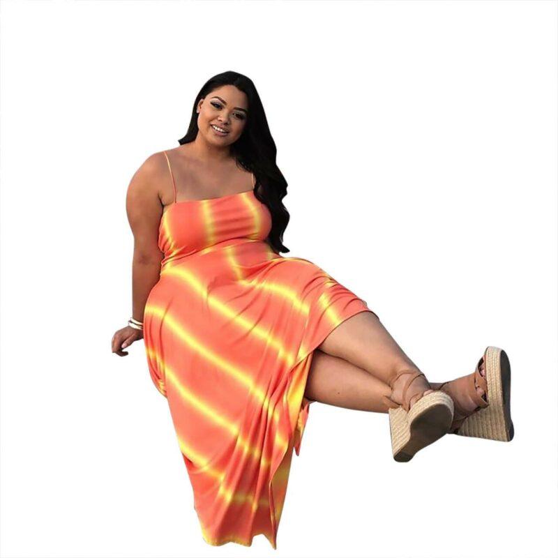 Plus Size Swim Dress - orange positive