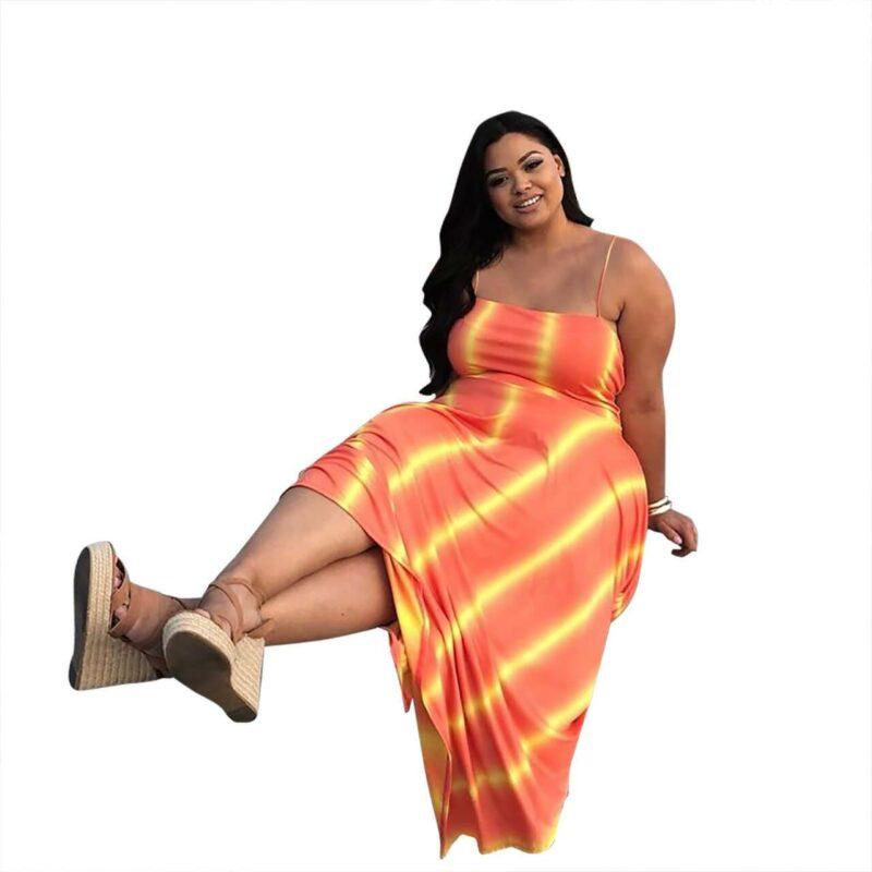 Plus Size Swim Dress - orange side