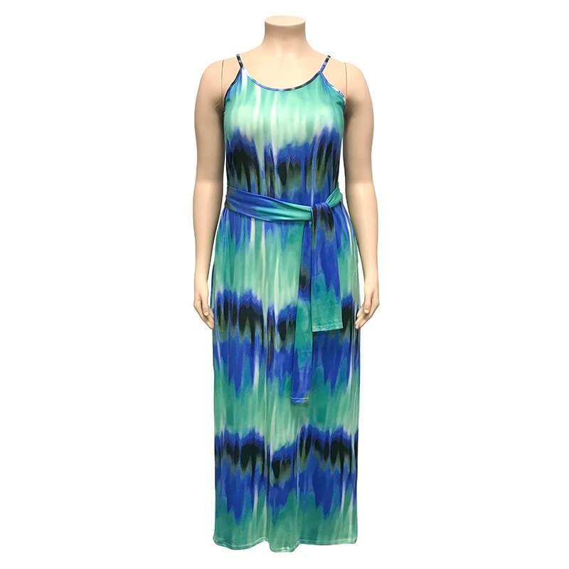 Plus Size Boho Dresses - blue positive