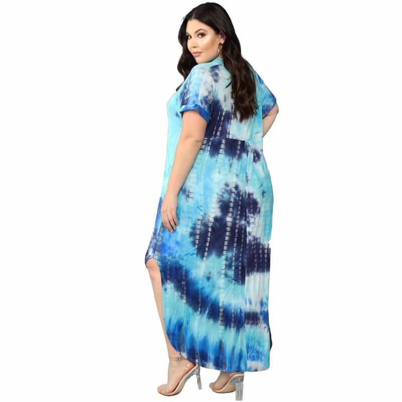 Oversized Tie-dye Loose Dress - blue back