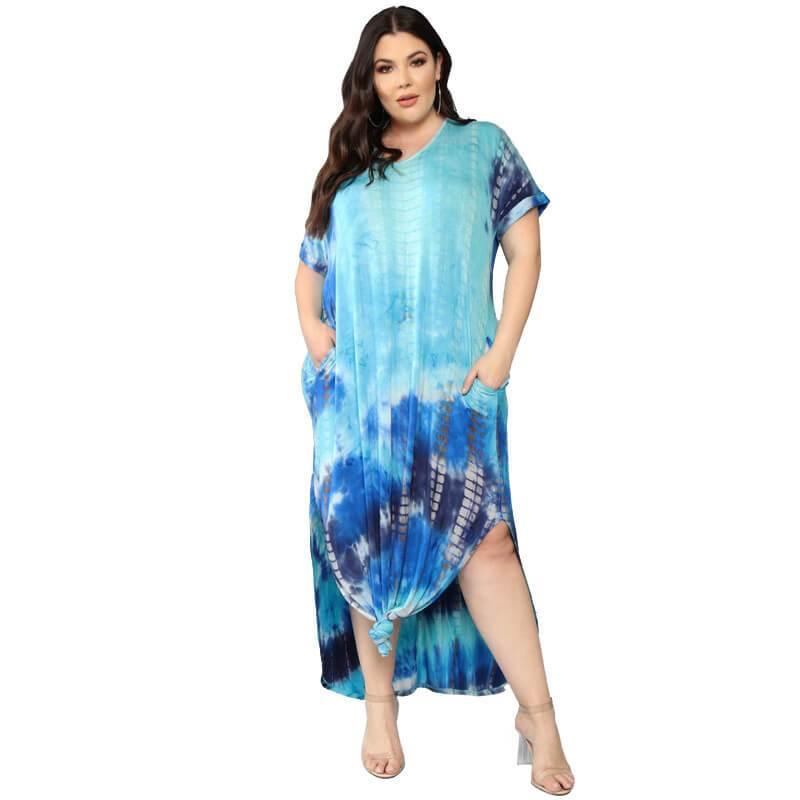 Oversized Tie-dye Loose Dress - blue positive