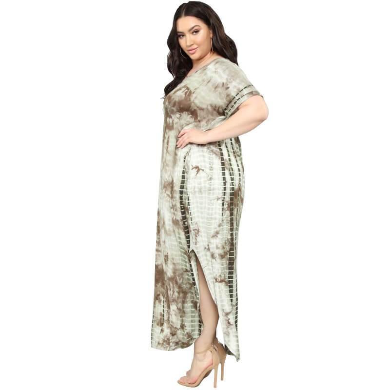 Oversized Tie-dye Loose Dress - khaki side