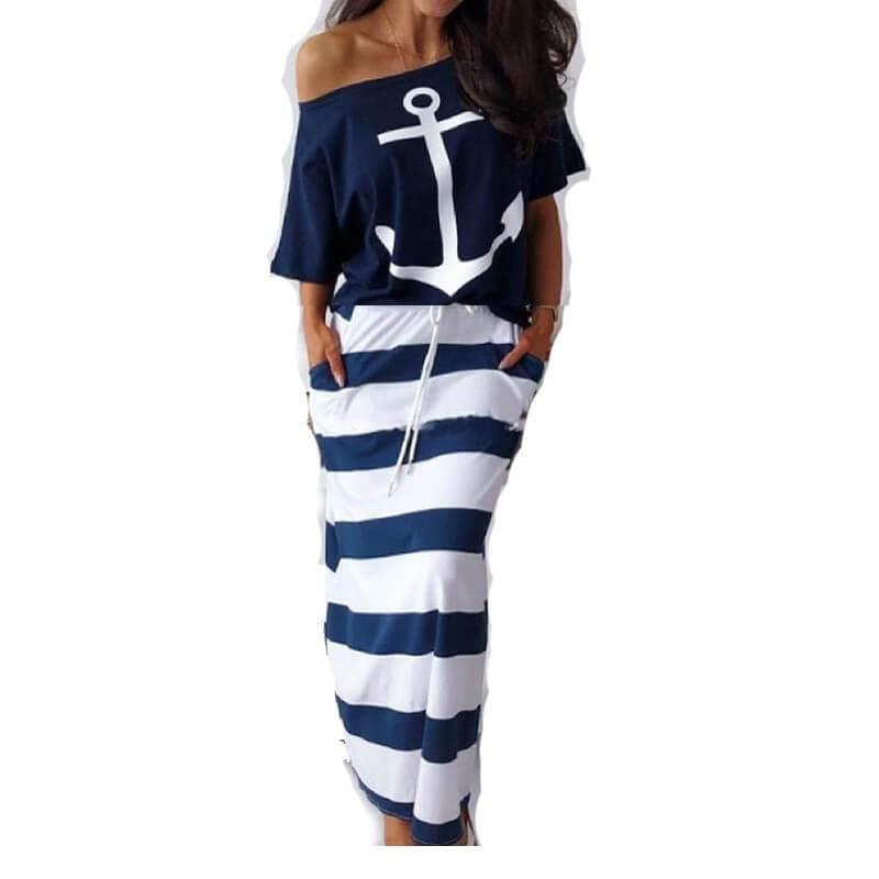 Plus Size Summer Female Suits - blue logo color