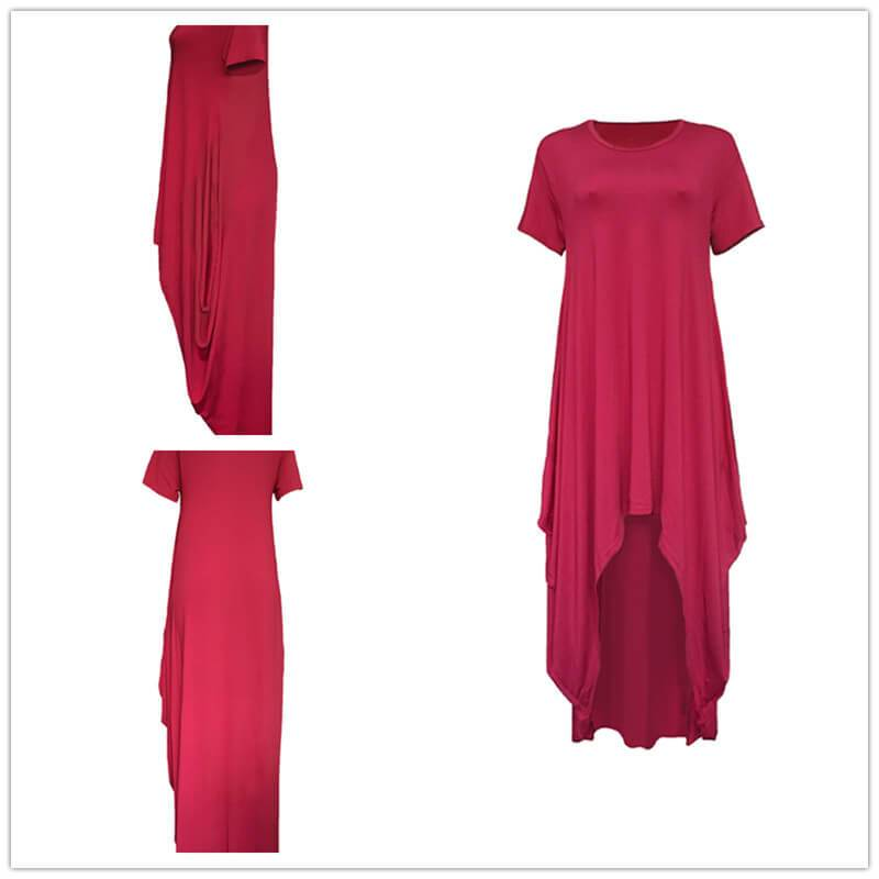 Casual Summer Maxi Dresses - Red Color details