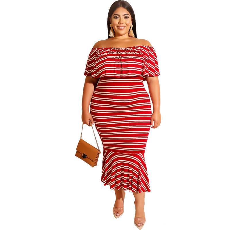 Plus Size Western Dresses - red color