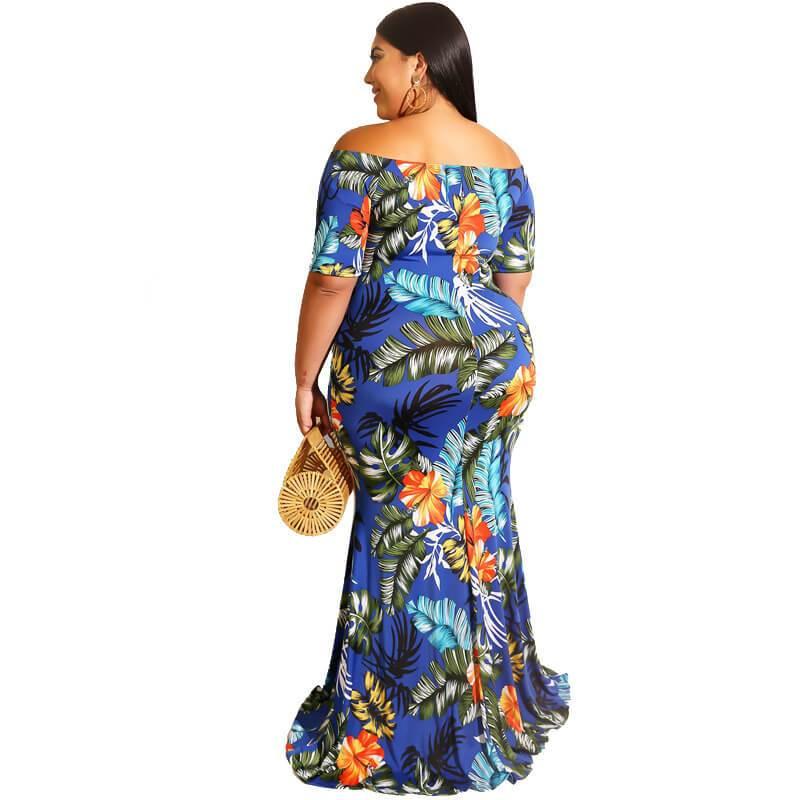 Short Sleeve Plus Size Flower Dress - blue back