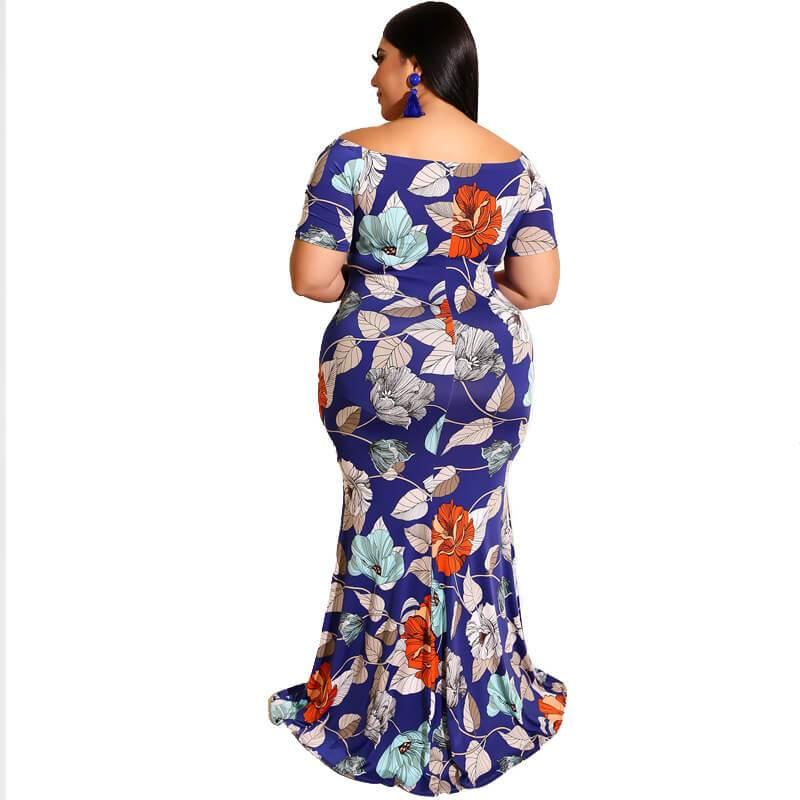 Short Sleeve Plus Size Flower Dress - navy blue back