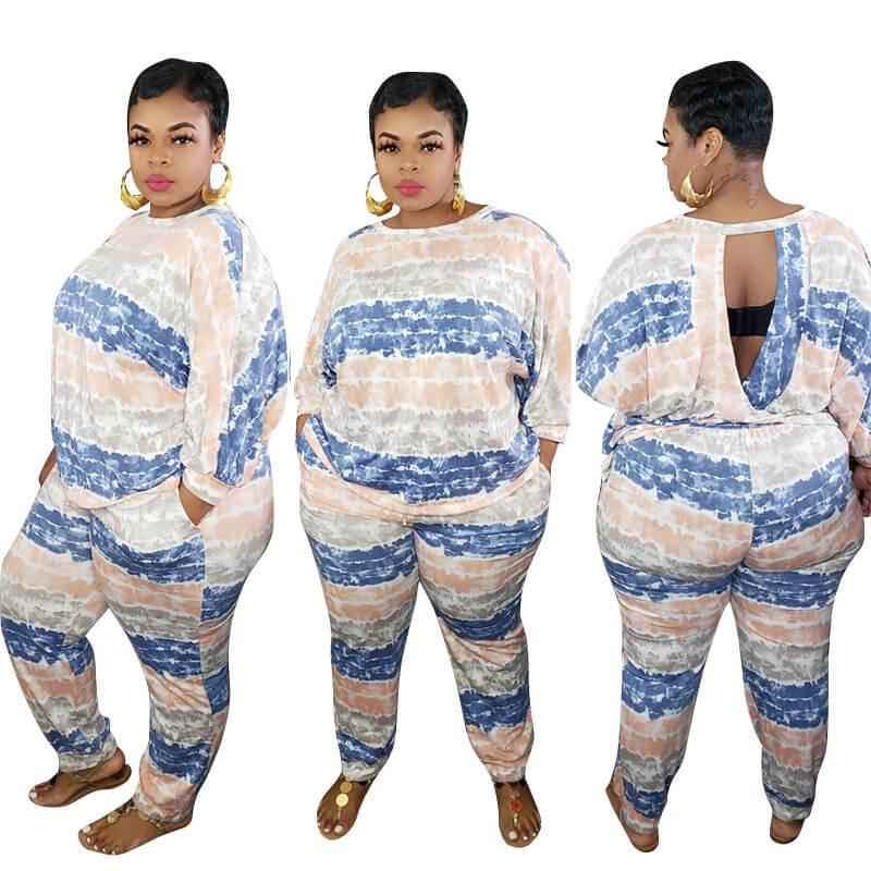 Plus Size White 2 Piece Set  - blue main picture