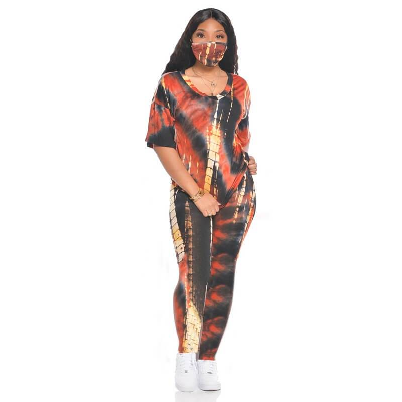Tie Dye Two Piece Outfit Plus Size - black red positive