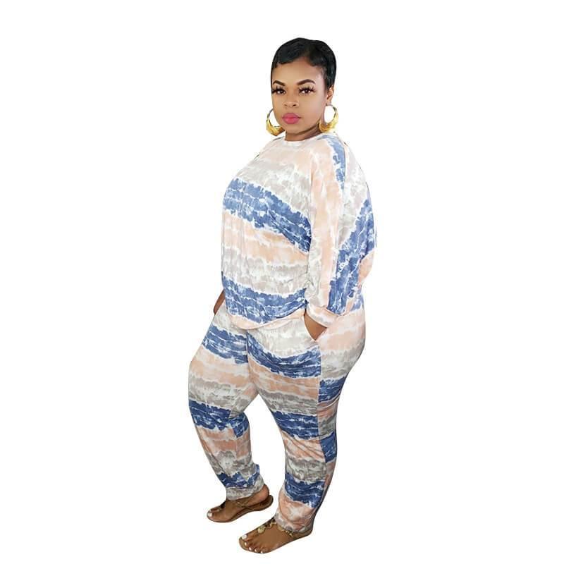Plus Size White 2 Piece Set - blue left