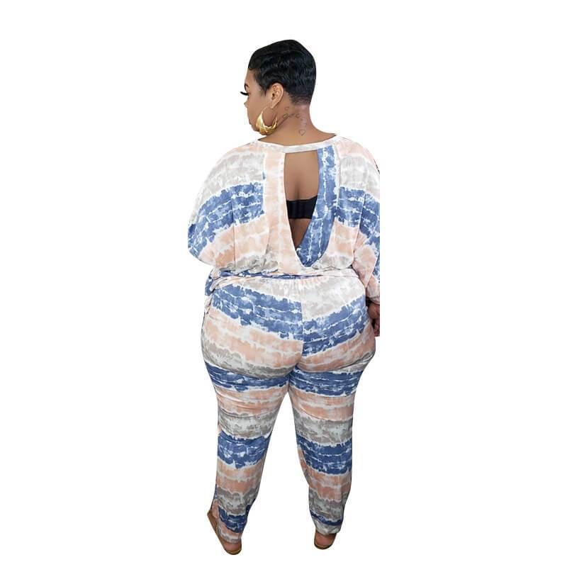 Plus Size White 2 Piece Set  - blue back