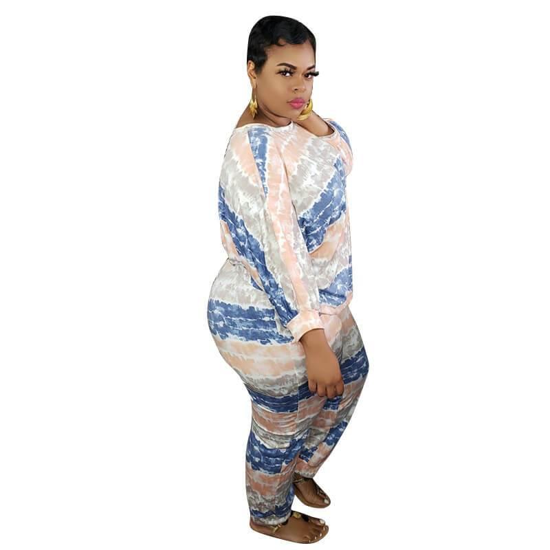 Plus Size White 2 Piece Set  - blue right
