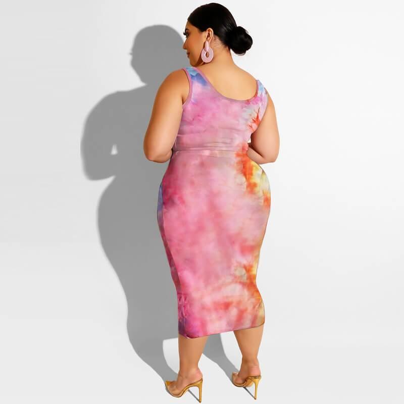 Plus Size Maxi Skirt Set - pink orange back