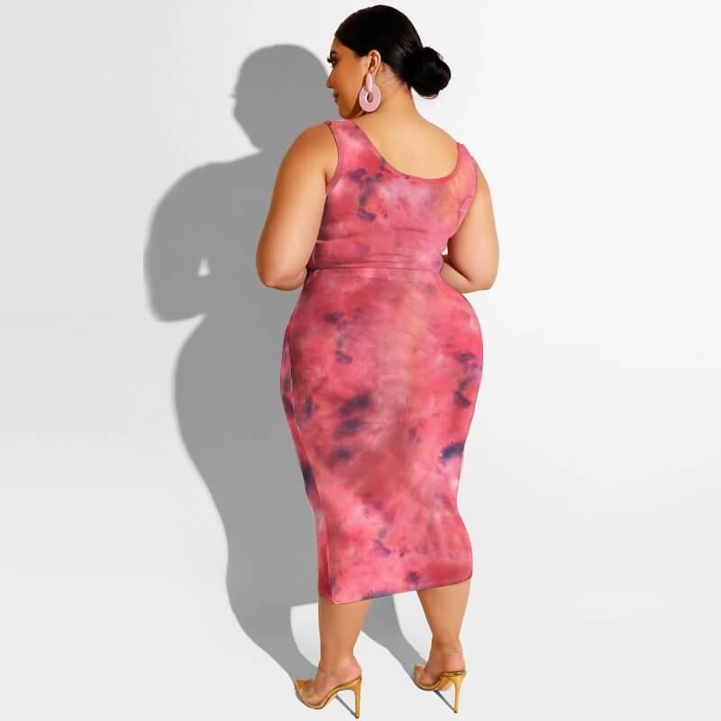 Plus Size Maxi Skirt Set - watermelon red back