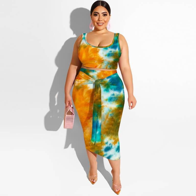 Plus Size Maxi Skirt Set - orange color