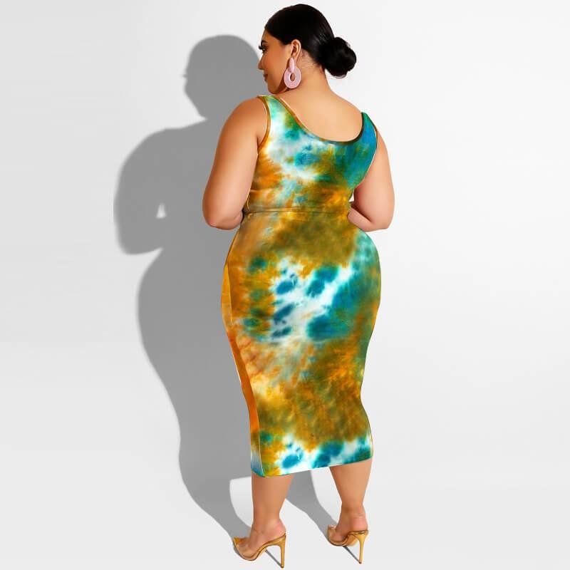 Plus Size Maxi Skirt Set - orange back