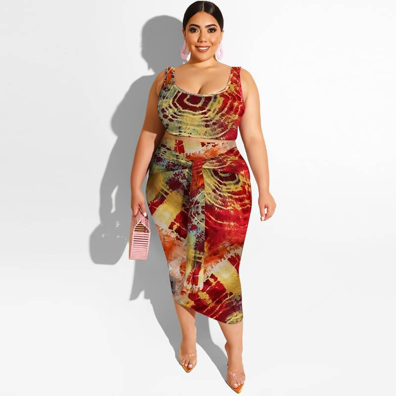 Plus Size Maxi Skirt Set - circle red color