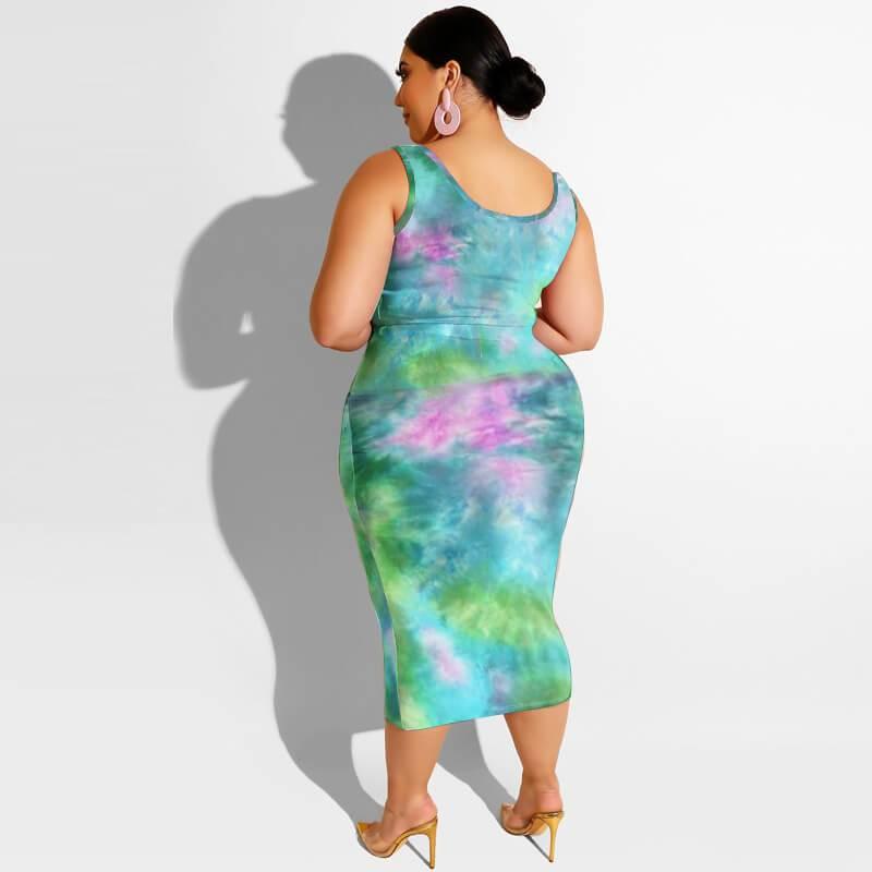Plus Size Maxi Skirt Set - green back