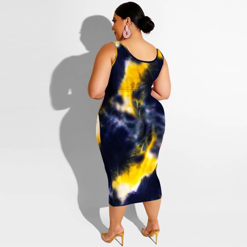 Plus Size Maxi Skirt Set - balck yellow back