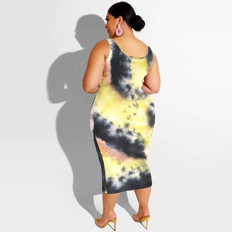 Plus Size Maxi Skirt Set - goose yellow back