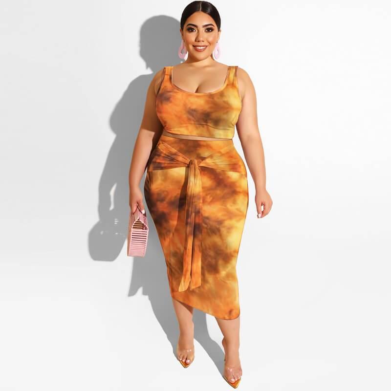 Plus Size Maxi Skirt Set - yellow color