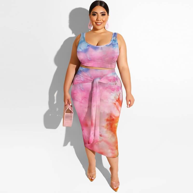 Plus Size Maxi Skirt Set - pink orange color