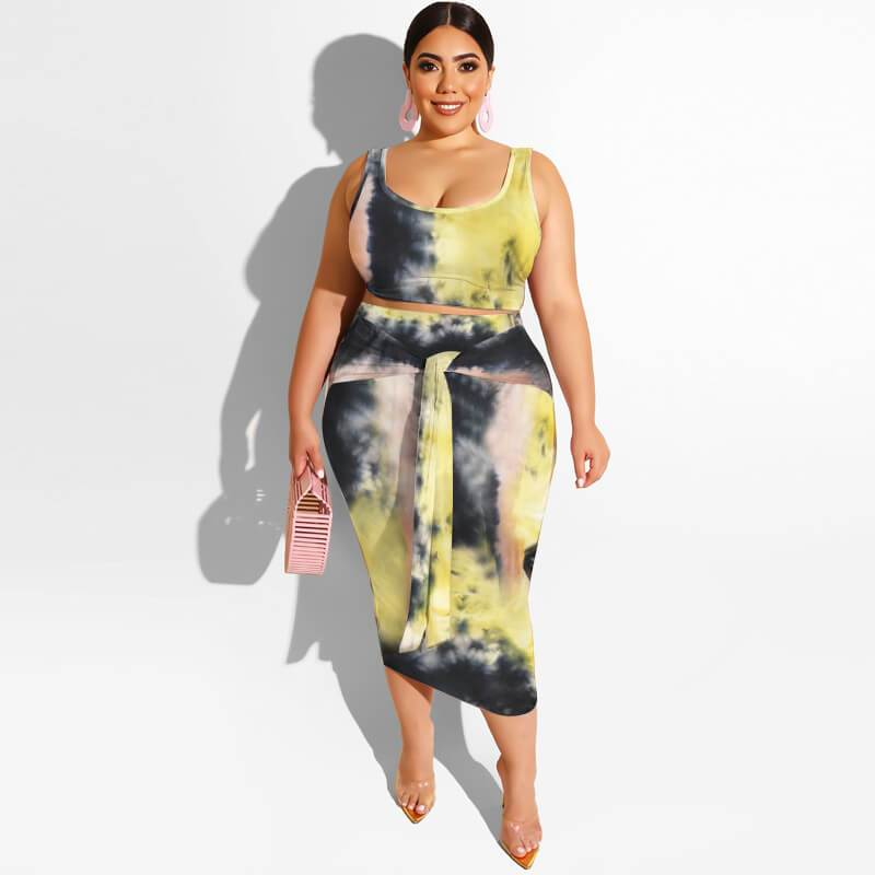 Plus Size Maxi Skirt Set - goose yellow color
