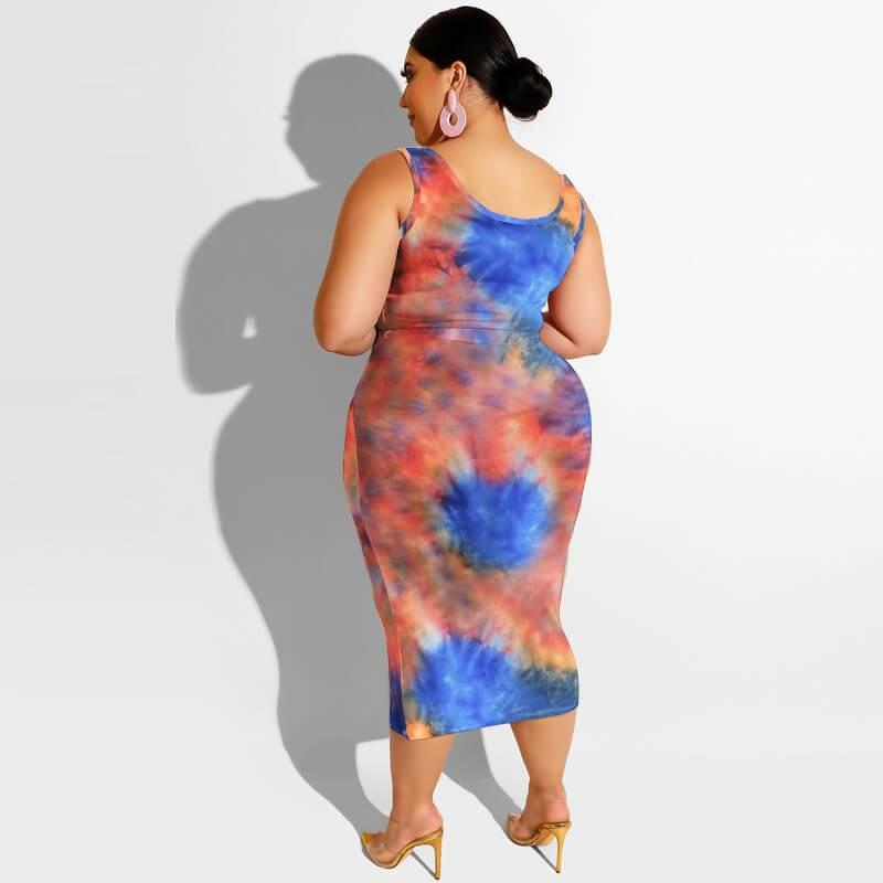 Plus Size Maxi Skirt Set - orange blue back
