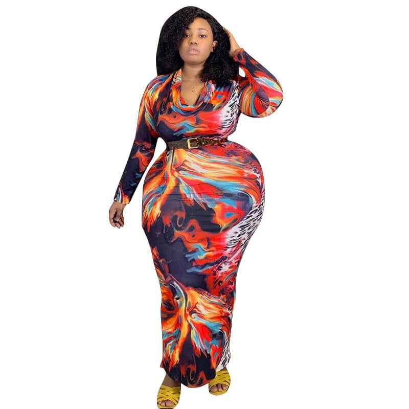 Plus Size Overall Dress - multicolor whole body