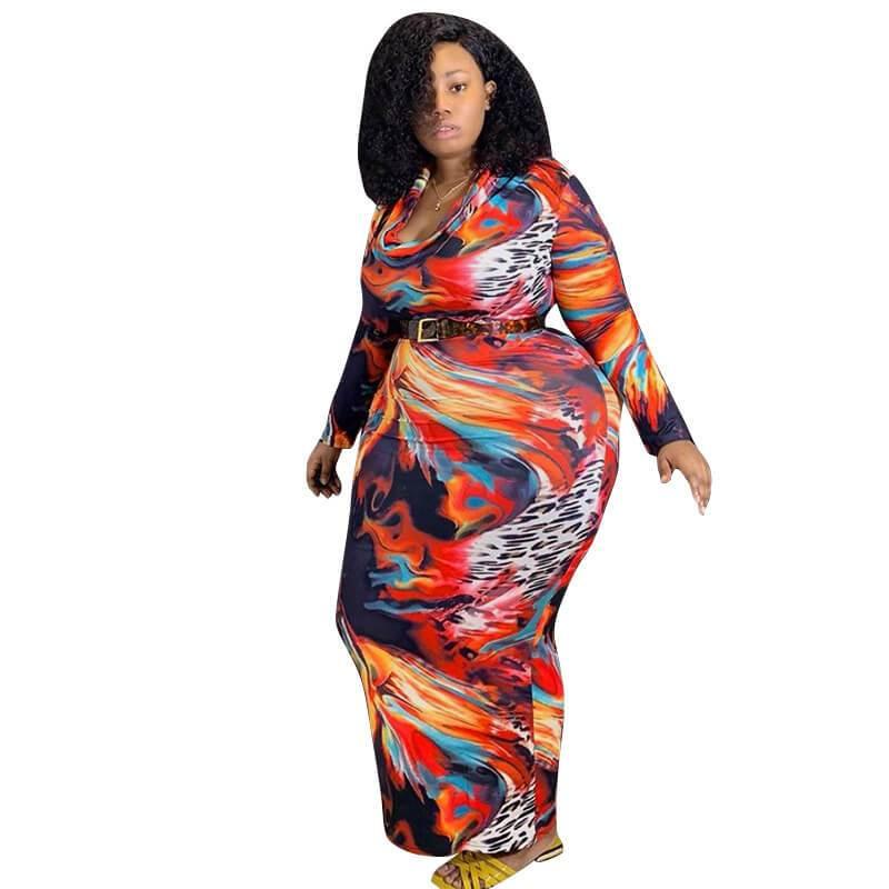 Plus Size Overall Dress - multicolor color