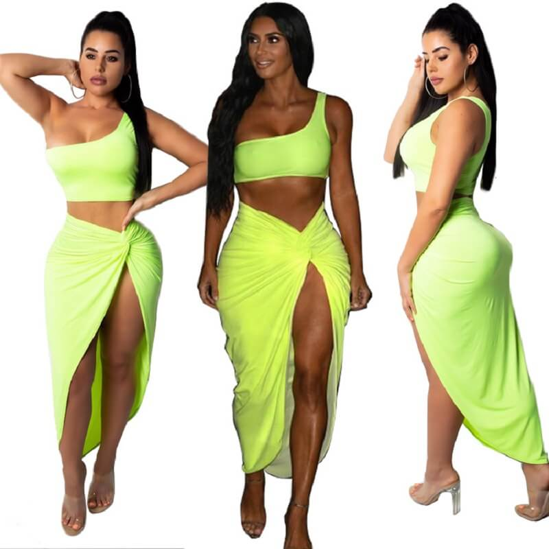 Two-piece Plus Size Solid Color Skirt - green colors