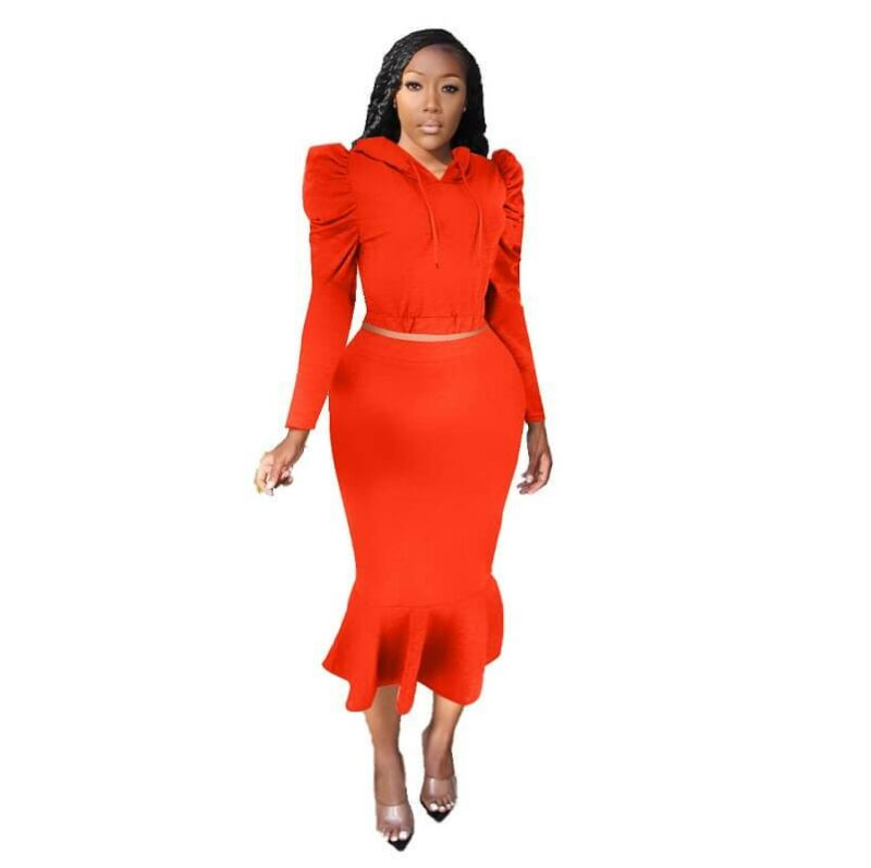 Two Piece Pant Suit - red color
