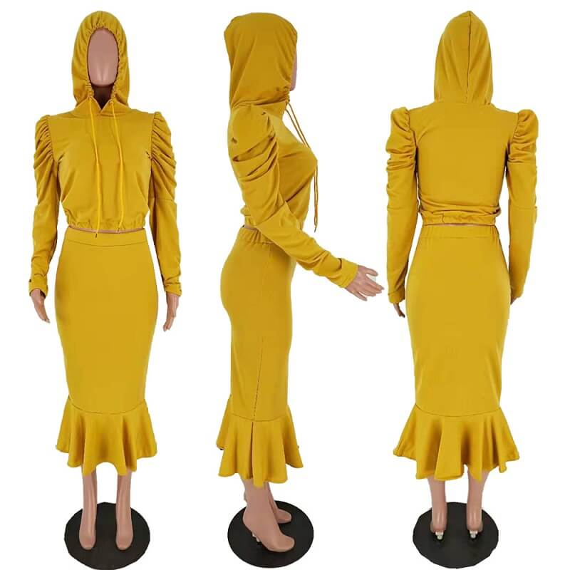 Two Piece Pant Suit - yellow  model picture