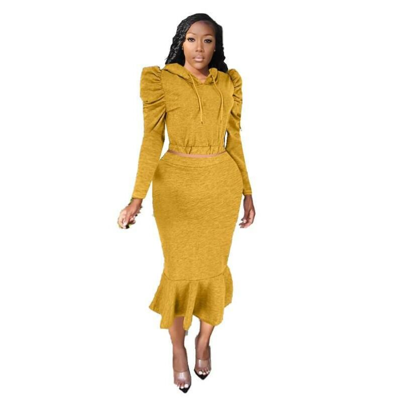 Two Piece Pant Suit - yellow  color