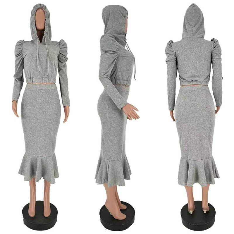 Two Piece Pant Suit - gray model picture