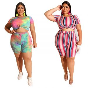 Plus Size Two Piece O-Neck Outfits - main picture