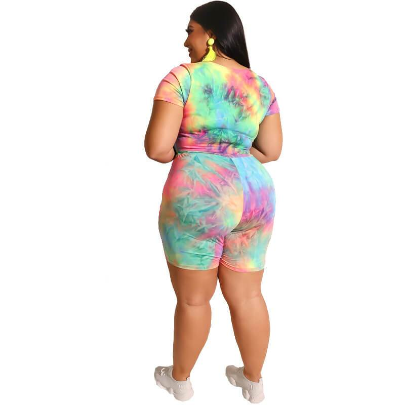 Plus Size Two Piece O-Neck Outfits - green back