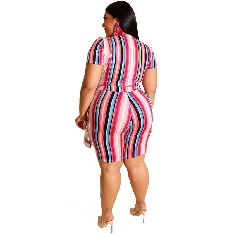 Plus Size Two Piece O-Neck Outfits - red back