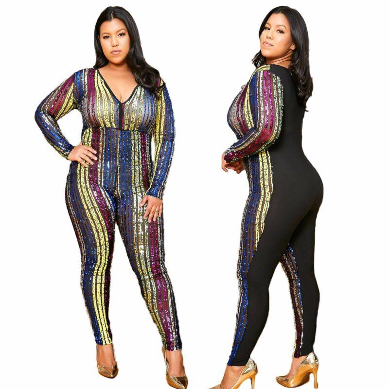 Plus Size Sequin Jumpsuit - main picture