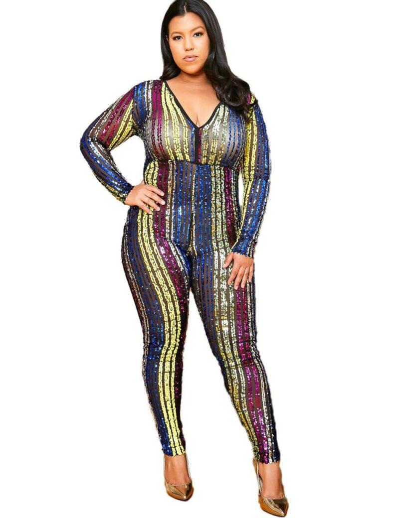 Plus Size Sequin Jumpsuit - black positive