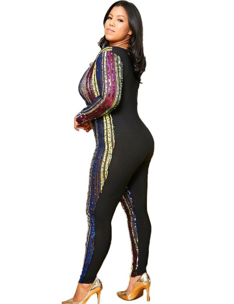 Plus Size Sequin Jumpsuit - black left