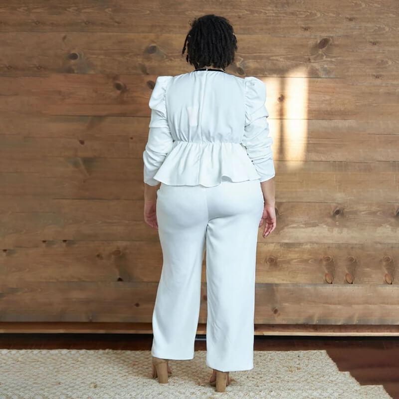 White Two Piece Set Plus Size - white back