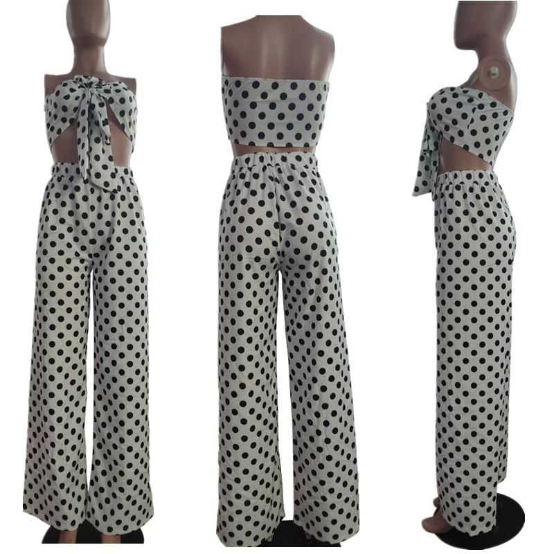 Two Piece Flare Pants Set - white model picture