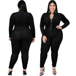 Black Long Sleeve Jumpsuit Plus Size - main picture