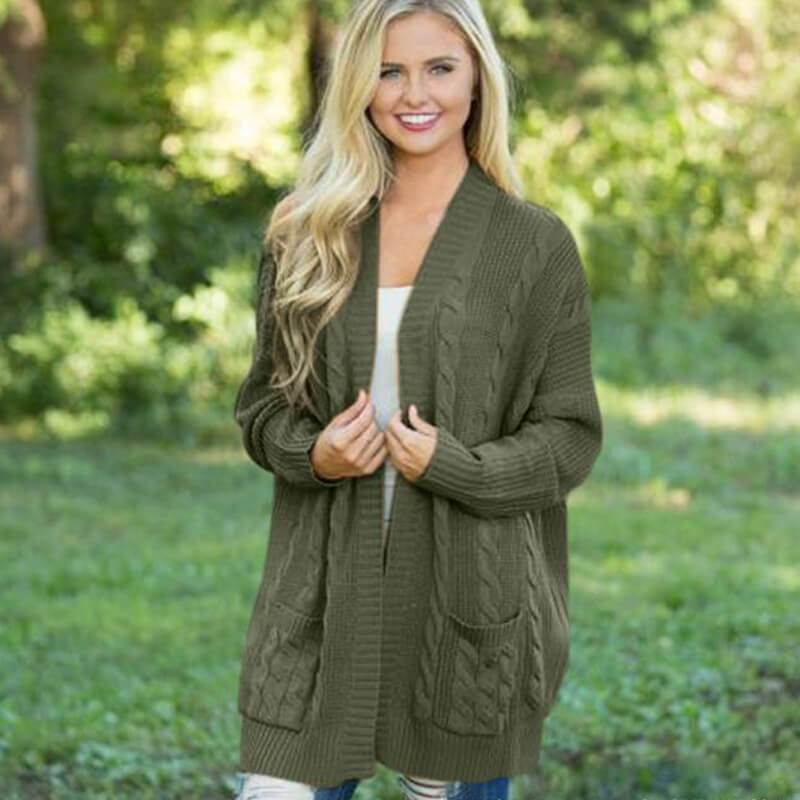 Womens 3x Cardigan Sweater - green color