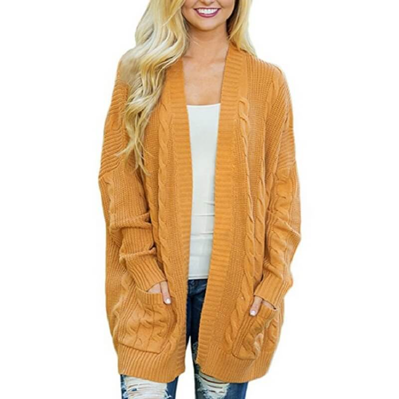 Womens 3x Cardigan Sweater - yellow  color