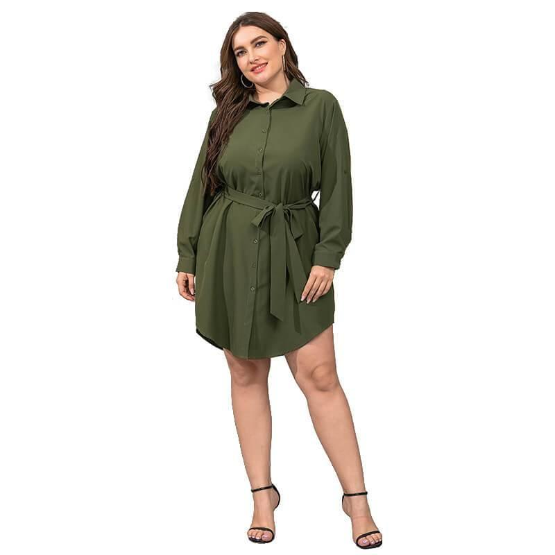 Plus Size Black Blouse - green color