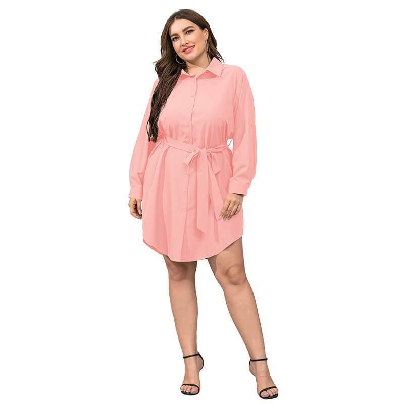 Plus Size Black Blouse - pink color