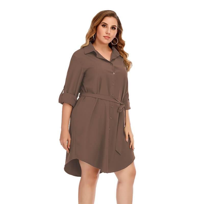 Plus Size Black Blouse - brown color