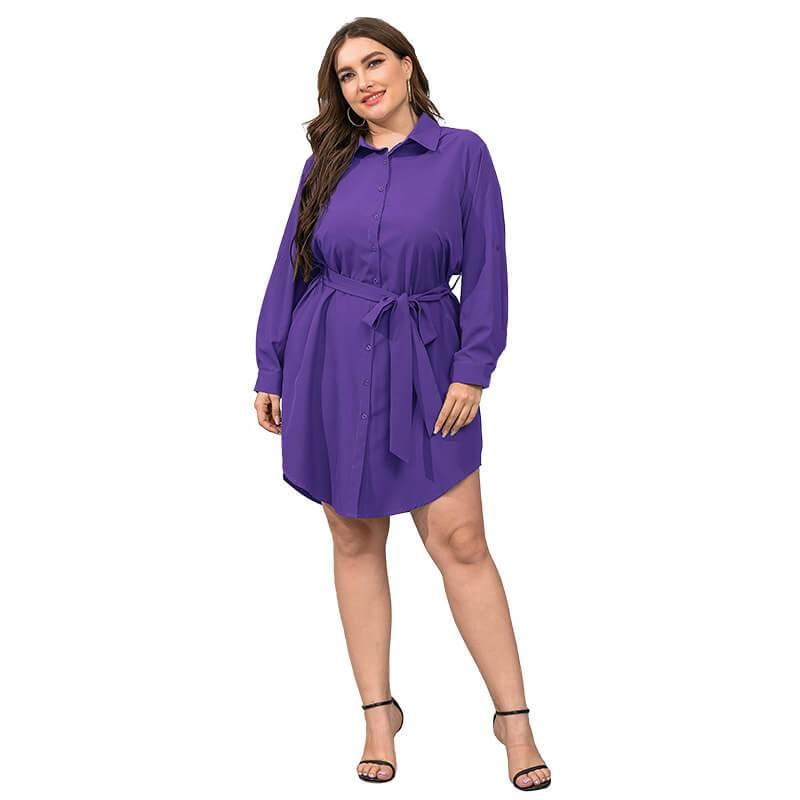 Plus Size Black Blouse - purple color